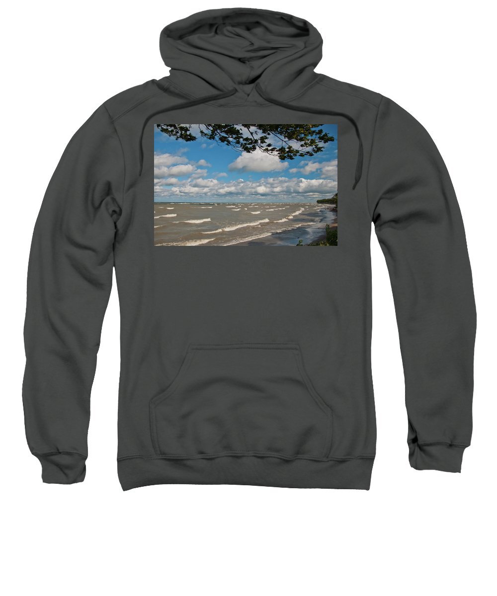 Sweatshirt featuring the photograph Lake Erie Storm 2371 by Guy Whiteley