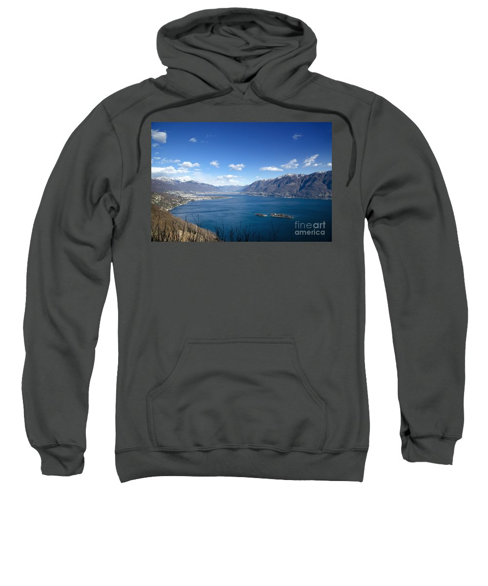 Island Sweatshirt featuring the photograph Lake With Islands And Snow-capped Mountain by Mats Silvan