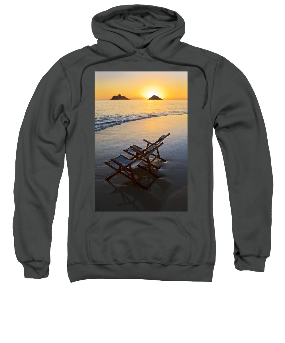 Alone Sweatshirt featuring the photograph Lanikai Chairs At Sunrise by Tomas del Amo