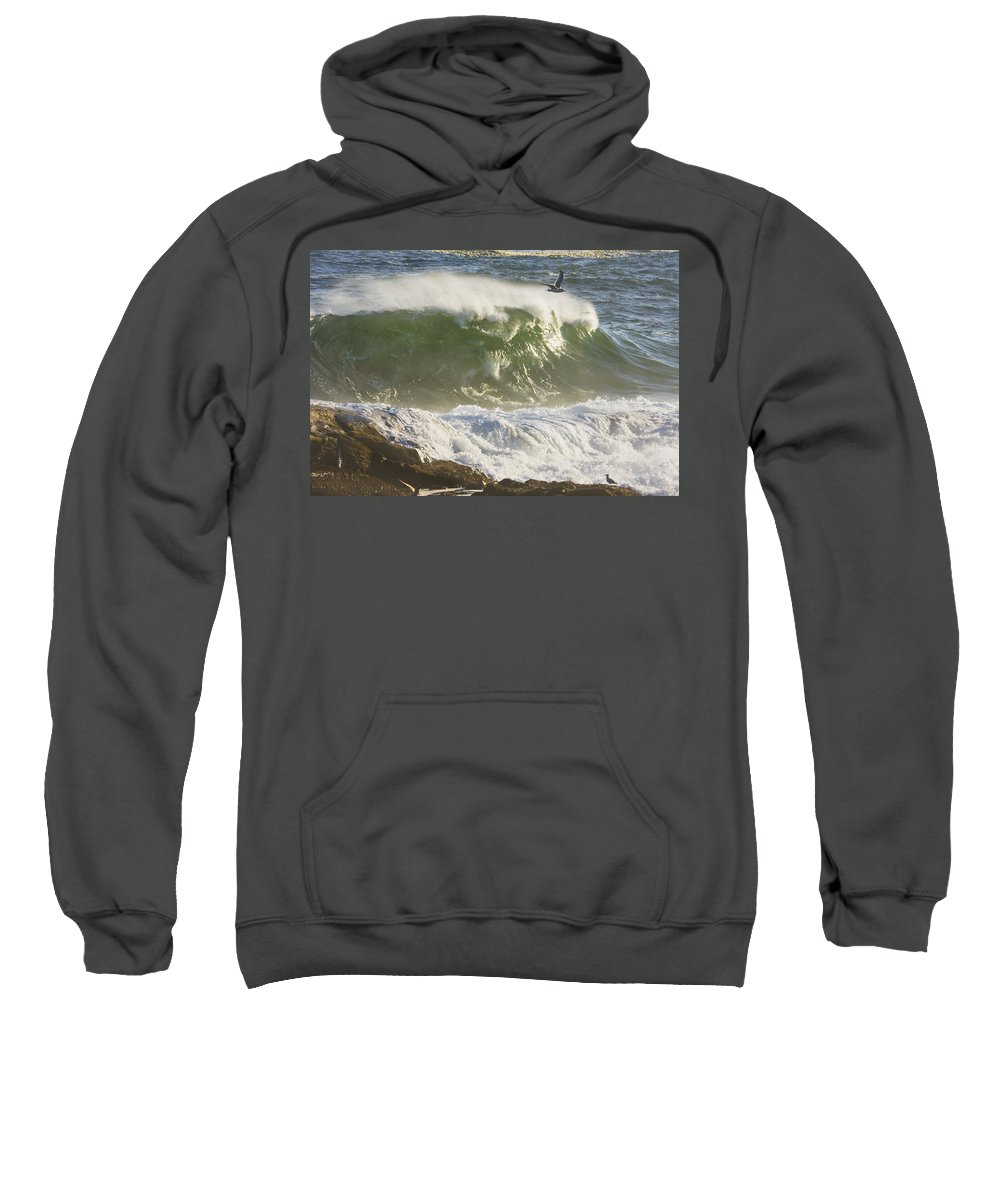 Maine Sweatshirt featuring the photograph Large Waves And Seagulls Near Pemaquid Point On Maine by Keith Webber Jr