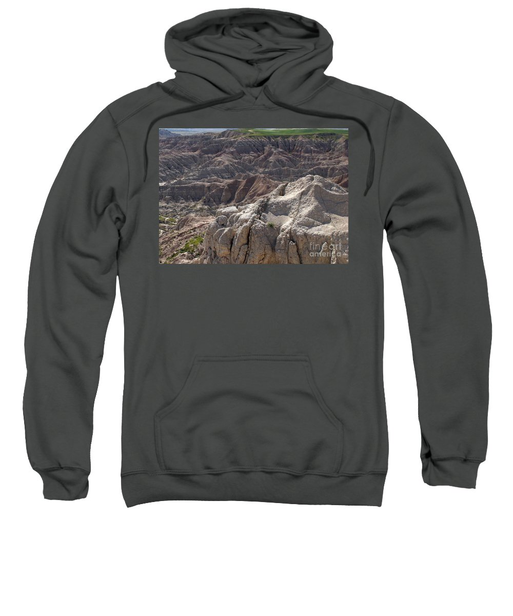 Badlands Sweatshirt featuring the photograph Layers Of Rock In The Badlands by Living Color Photography Lorraine Lynch