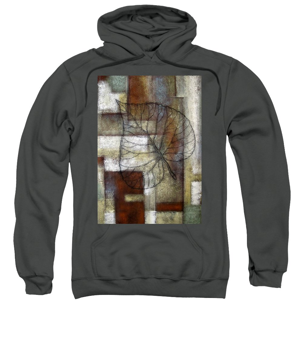 Color Image Environment Growth Illustration Illustration And Painting Leaf Nature Nobody Simplicity Three Objects Vertical Color Colour Development Drawing Natural Plant Uncomplicated Organic Decorative Art Sweatshirt featuring the painting Leaf Whisper 1 by Leon Zernitsky