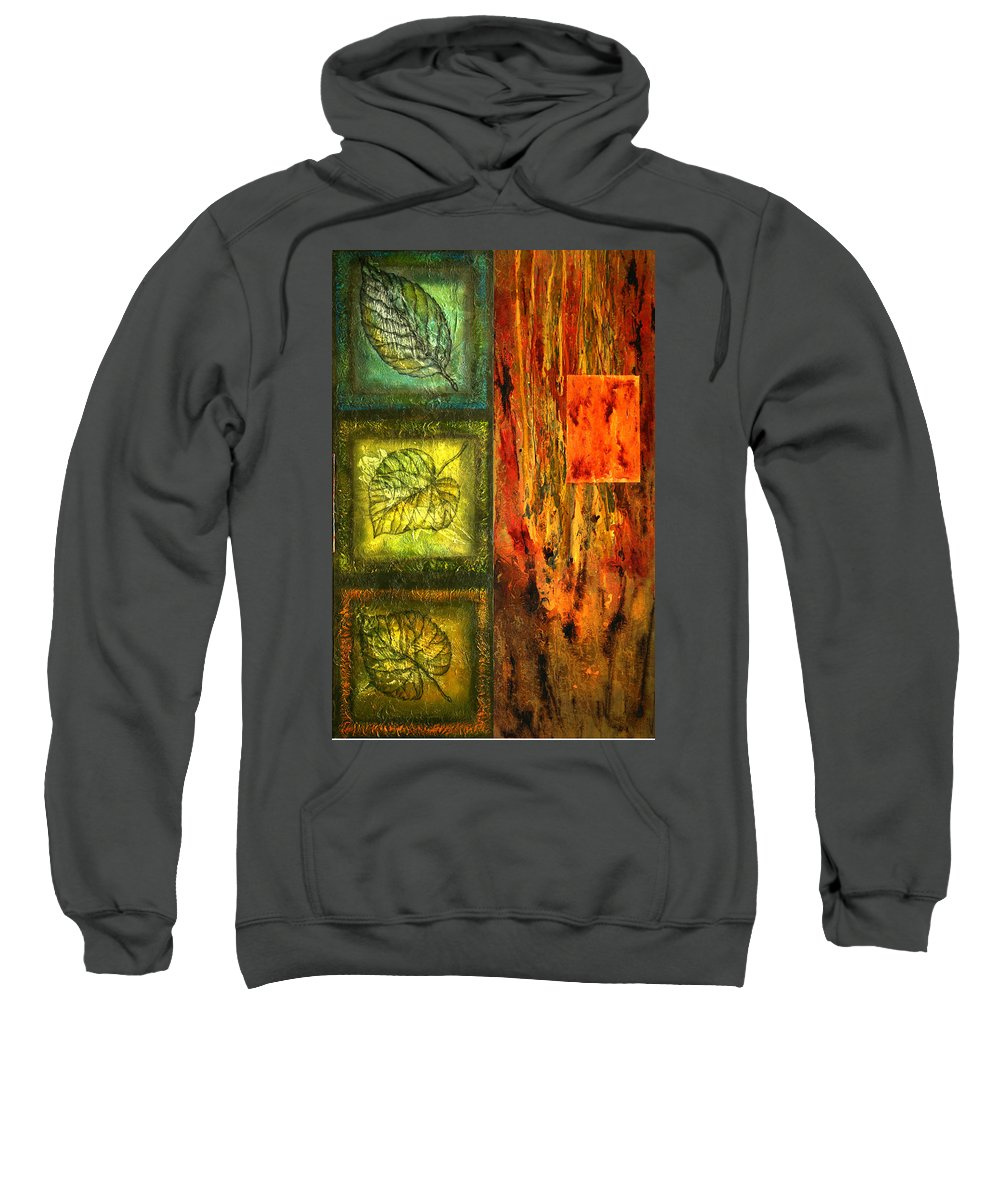 Color Image Environment Growth Illustration Illustration And Painting Leaf Nature Nobody Simplicity Three Objects Vertical Color Colour Development Drawing Natural Plant Uncomplicated Organic Decorative Art Sweatshirt featuring the painting Leaf Whisper 3 by Leon Zernitsky