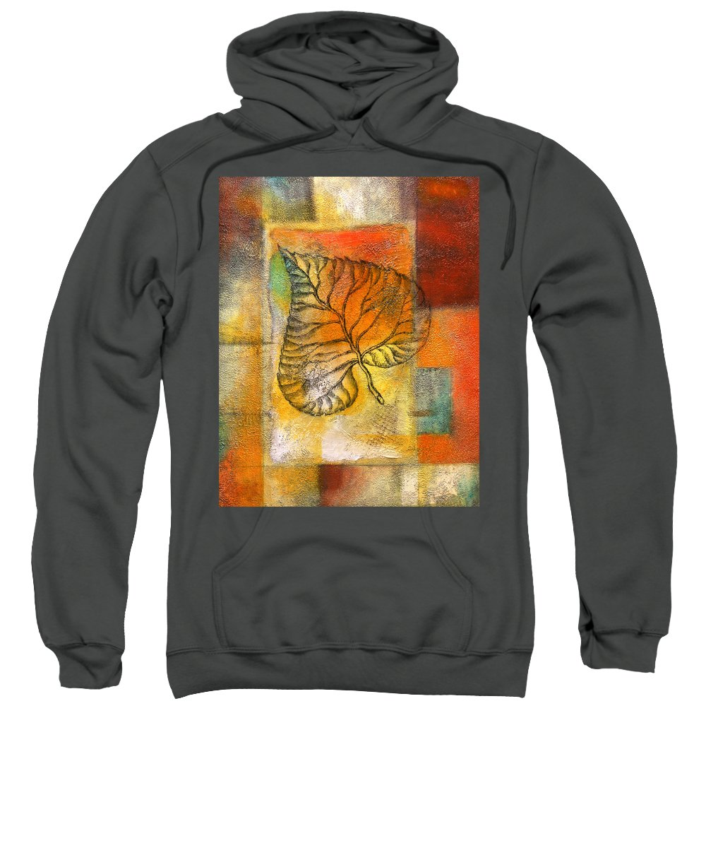 Color Image Environment Growth Illustration Illustration And Painting Leaf Nature Nobody Simplicity Three Objects Vertical Color Colour Development Drawing Natural Plant Uncomplicated Organic Decorative Art Sweatshirt featuring the painting Leaf Whisper 4 by Leon Zernitsky