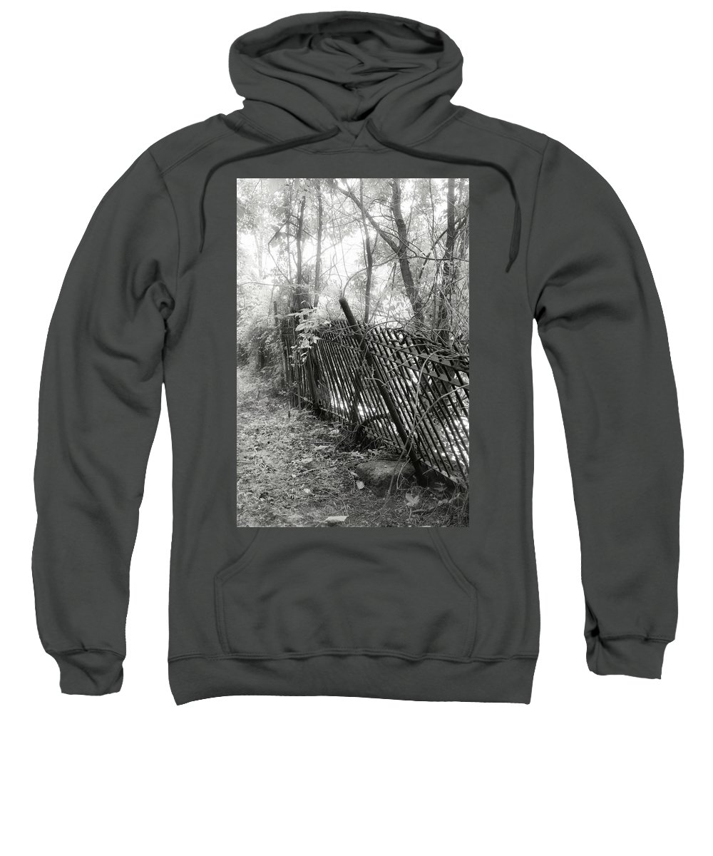 Black And White Sweatshirt featuring the photograph Leaning Fence by Mary Almond