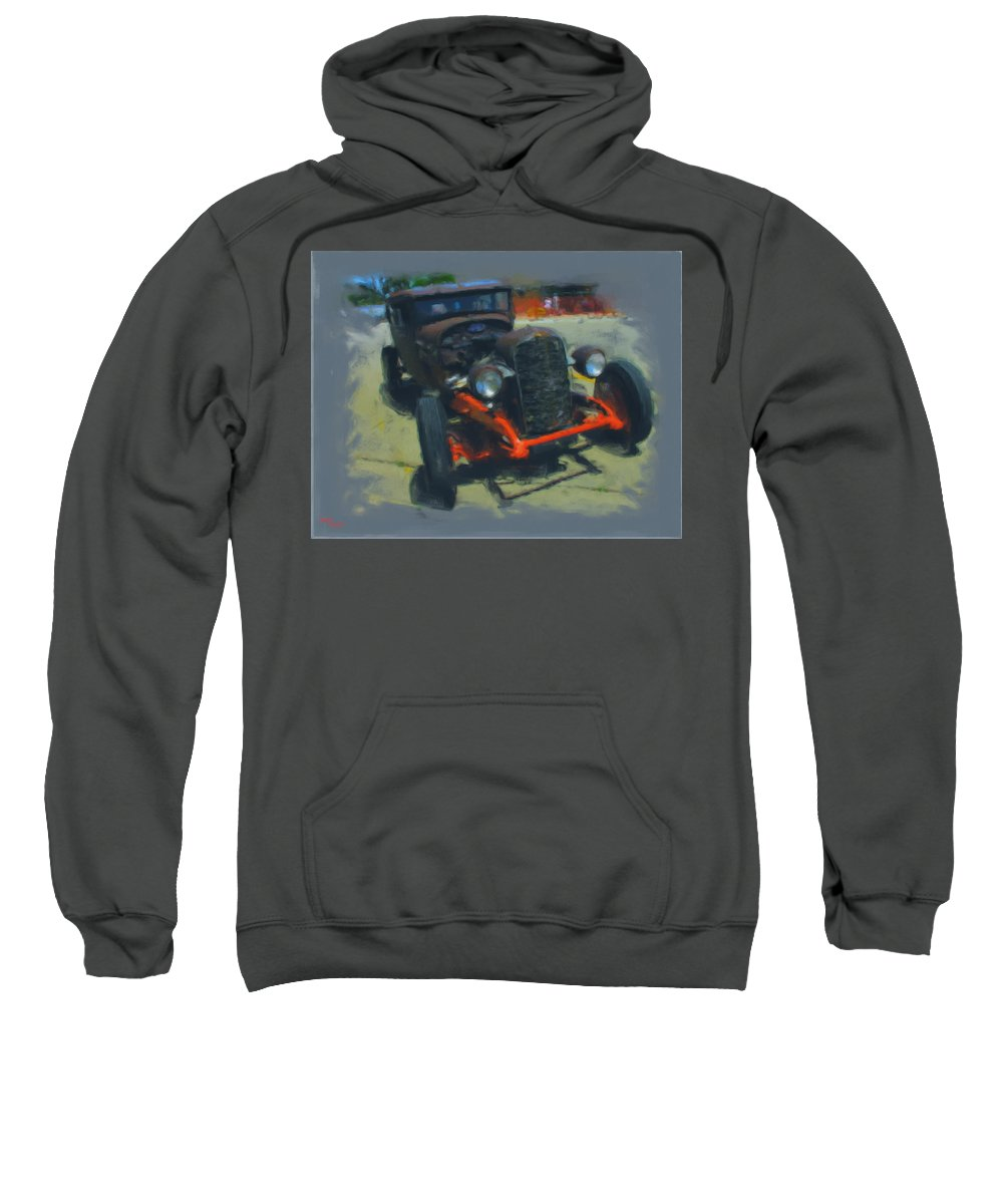 Car Sweatshirt featuring the mixed media Let's Ride by Adam Vance