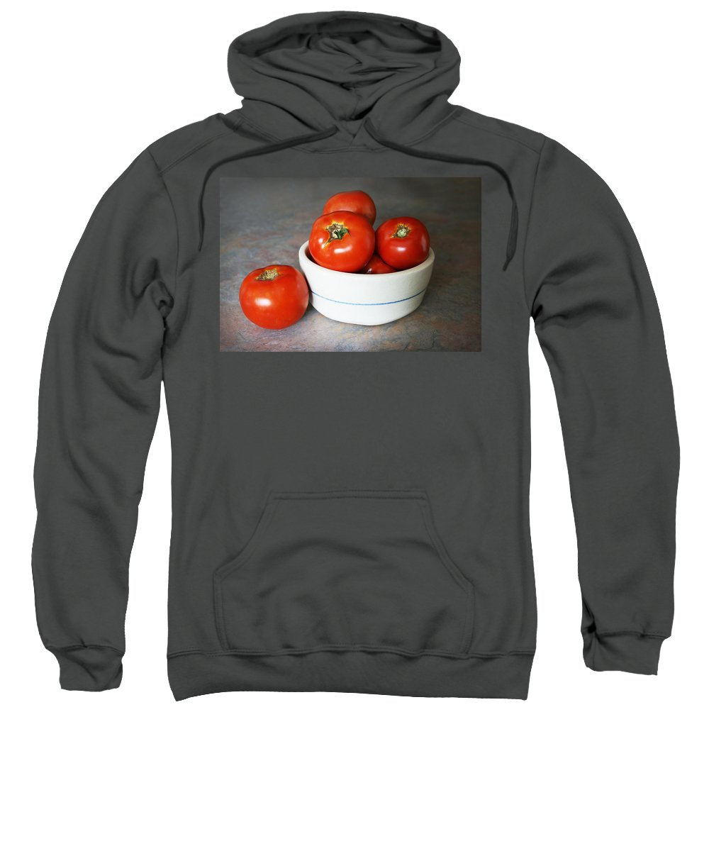 Tomatoes Sweatshirt featuring the photograph Life Is Not A Bowl Of Cherries - Life Is A Bowl Of Tomatoes by Kathy Clark