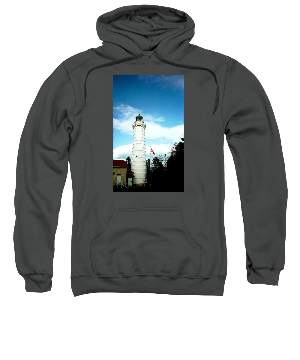 Lighthouse Sweatshirt featuring the photograph Lighthouse In Door County by April Patterson