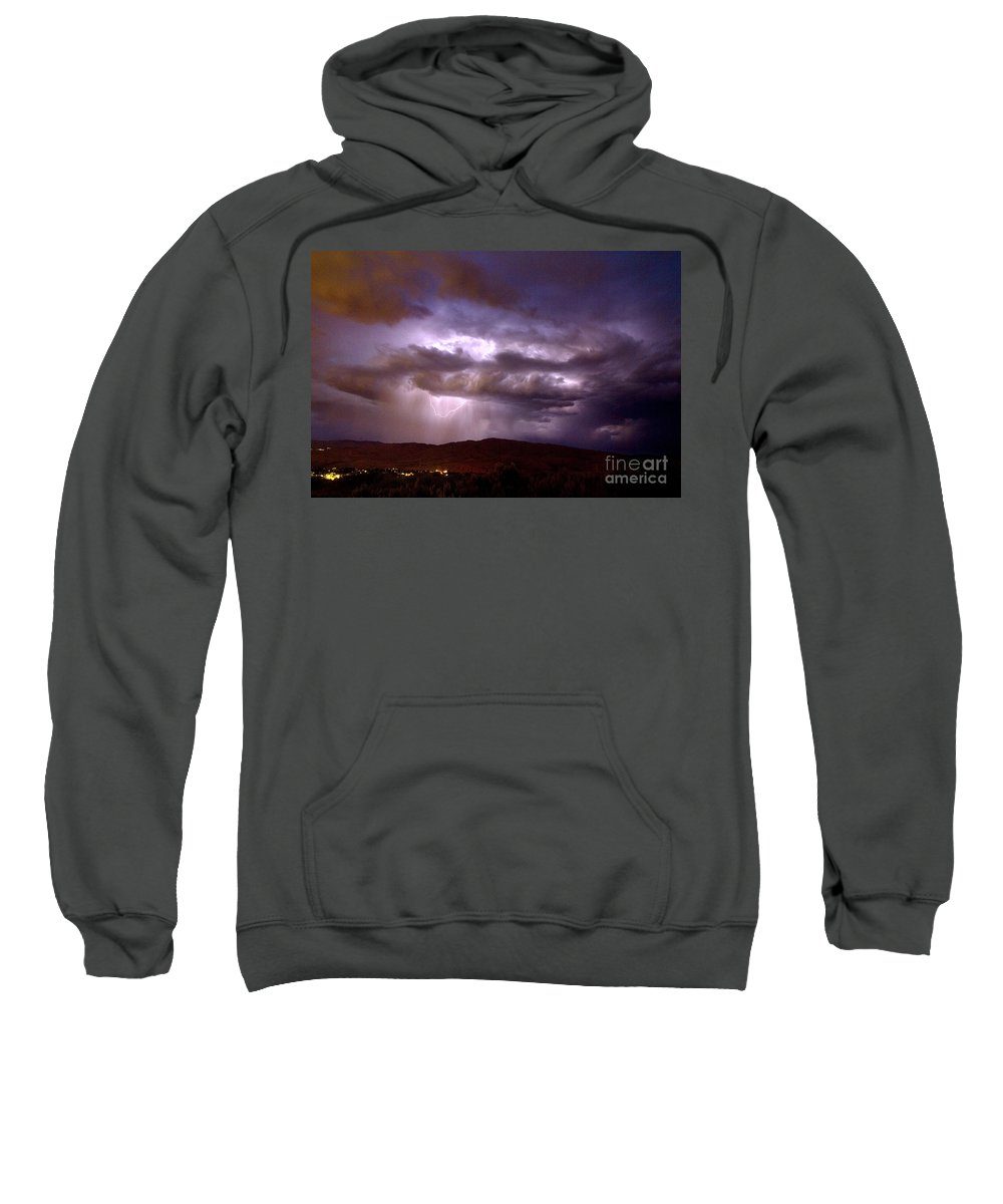 United States Sweatshirt featuring the photograph Lightning Strikes During A Thunderstorm by David R Frazier and Photo Researchers