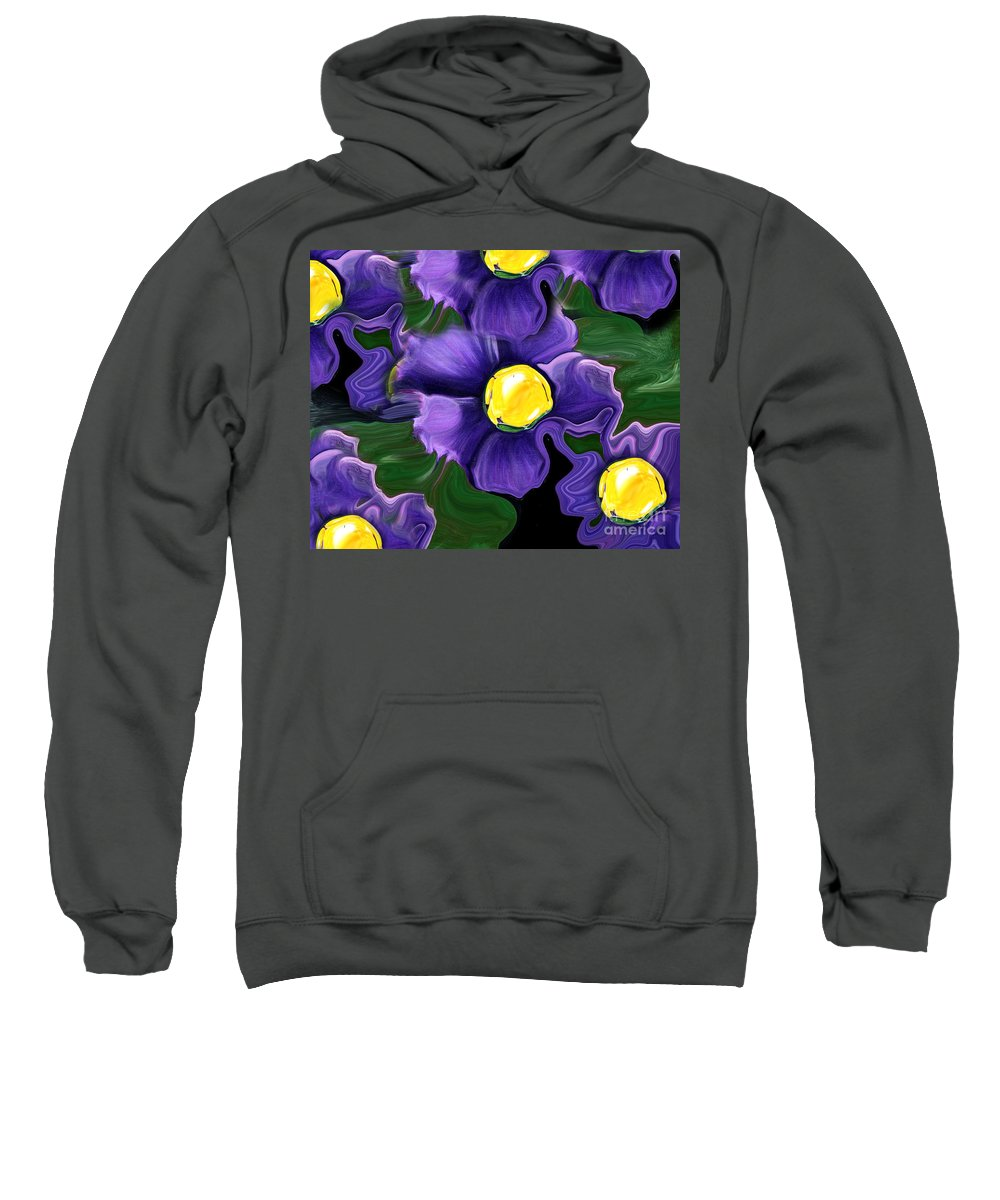 Liquid Violets Sweatshirt featuring the painting Liquid Violets by Barbara Griffin