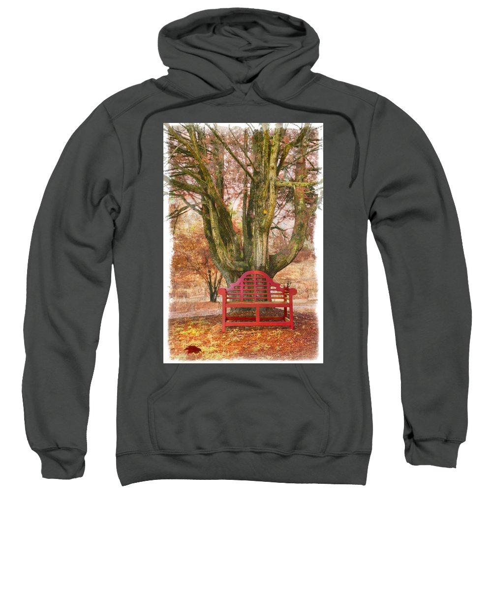 Fine Art Sweatshirt featuring the photograph Little Red Bench by Debra and Dave Vanderlaan