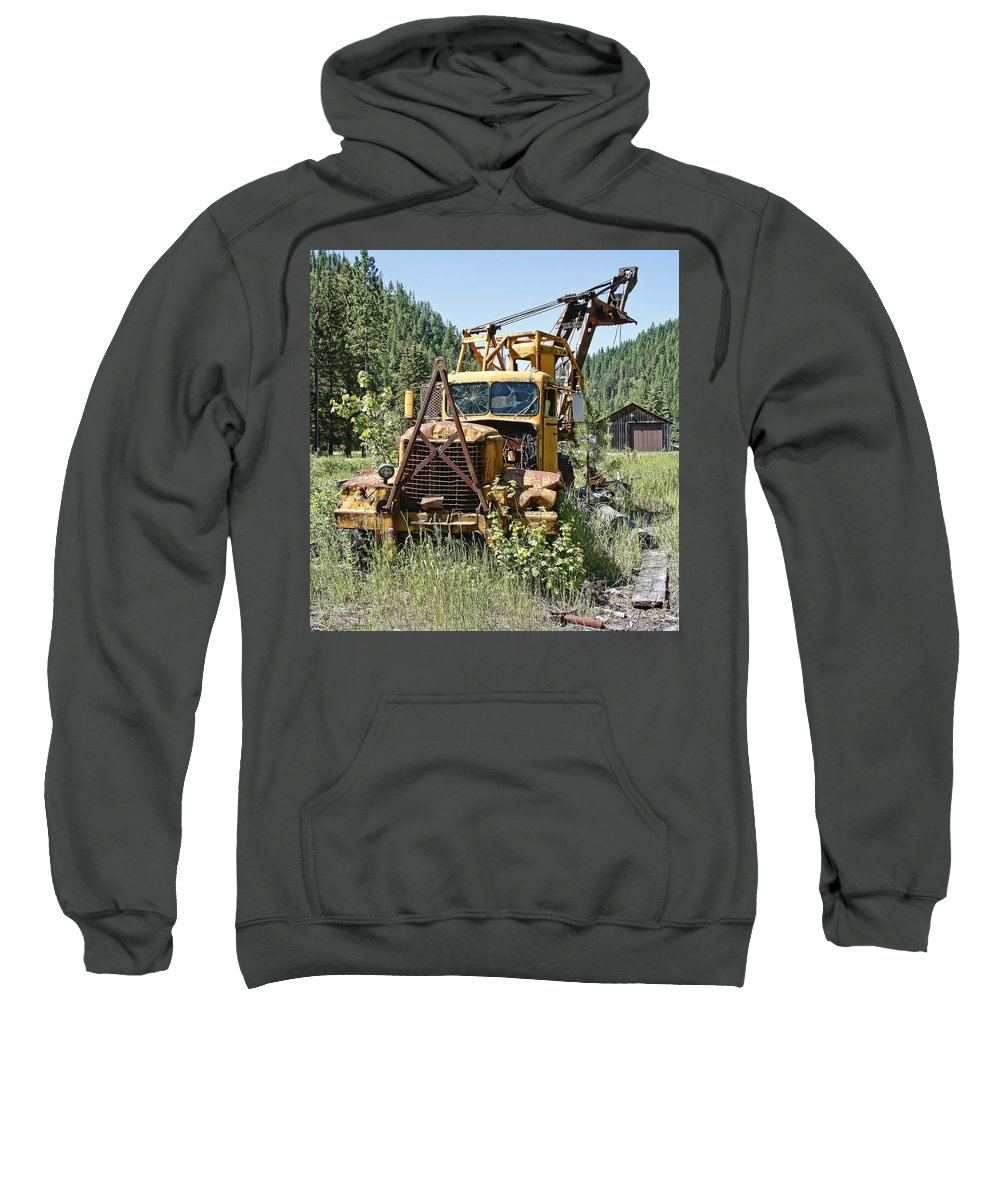 Truck Sweatshirt featuring the photograph Logging Truck - Burke Idaho Ghost Town by Daniel Hagerman
