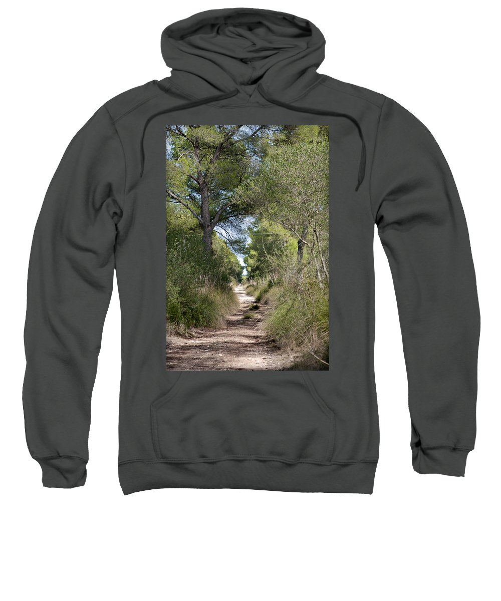 Menorca Sweatshirt featuring the photograph Long Forest Road by Pedro Cardona Llambias