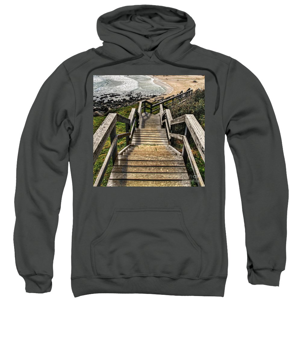 Photography Sweatshirt featuring the photograph Long Stairway To Beach by Kaye Menner