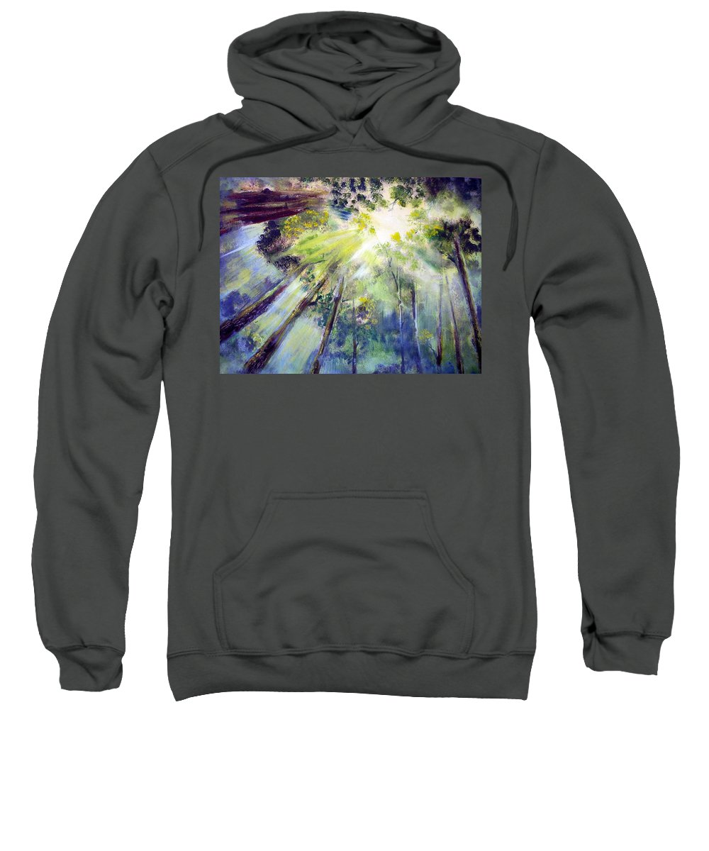 Forest Sweatshirt featuring the painting Look Up by Robert Gross