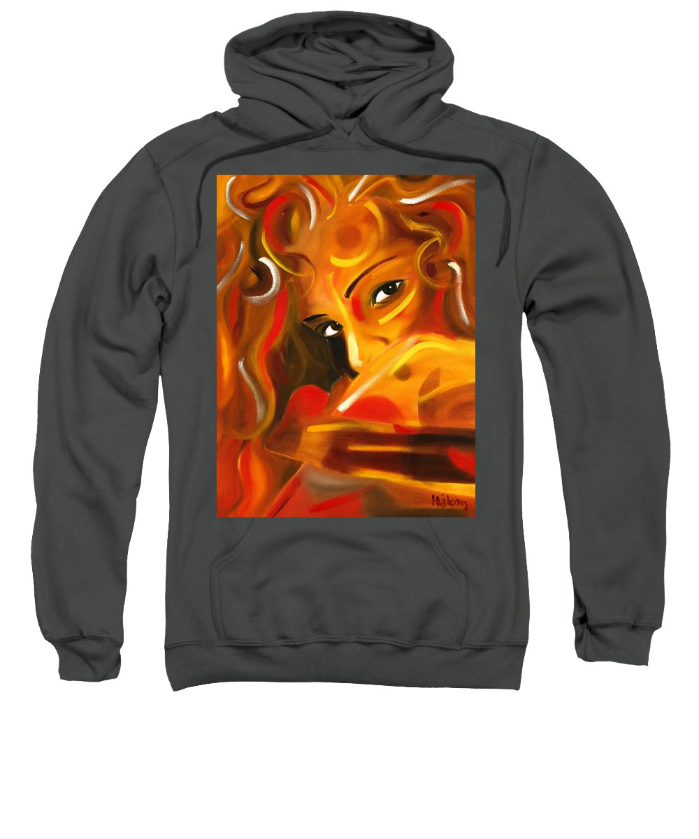 Eyes Sweatshirt featuring the painting Looking Over Her Shoulder by Hakon Soreide