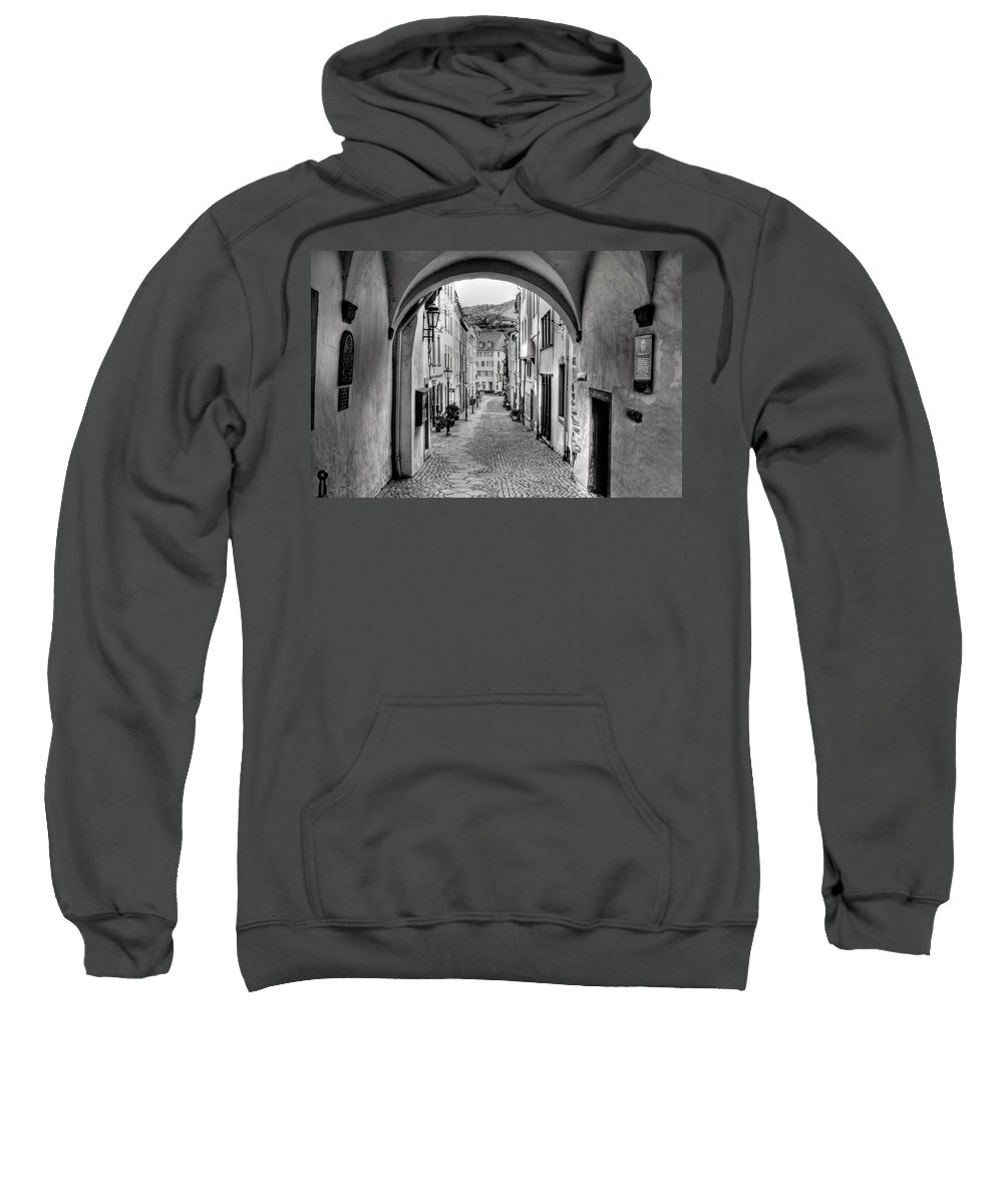 B&w Sweatshirt featuring the photograph Looking Through Graach Gate by Bill Lindsay