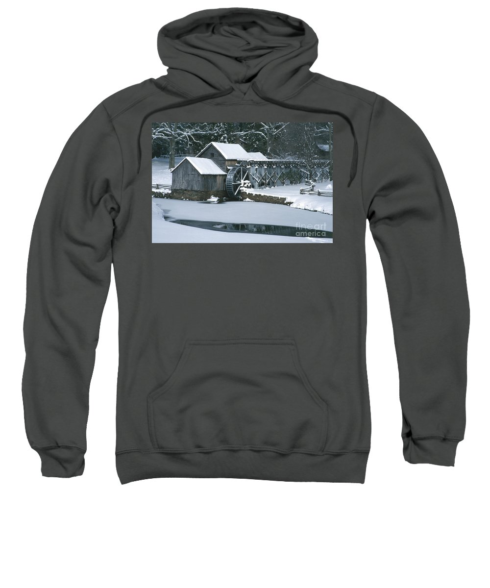 Mabry Mill Sweatshirt featuring the photograph Mabry Mill Winter by Joe Elliott