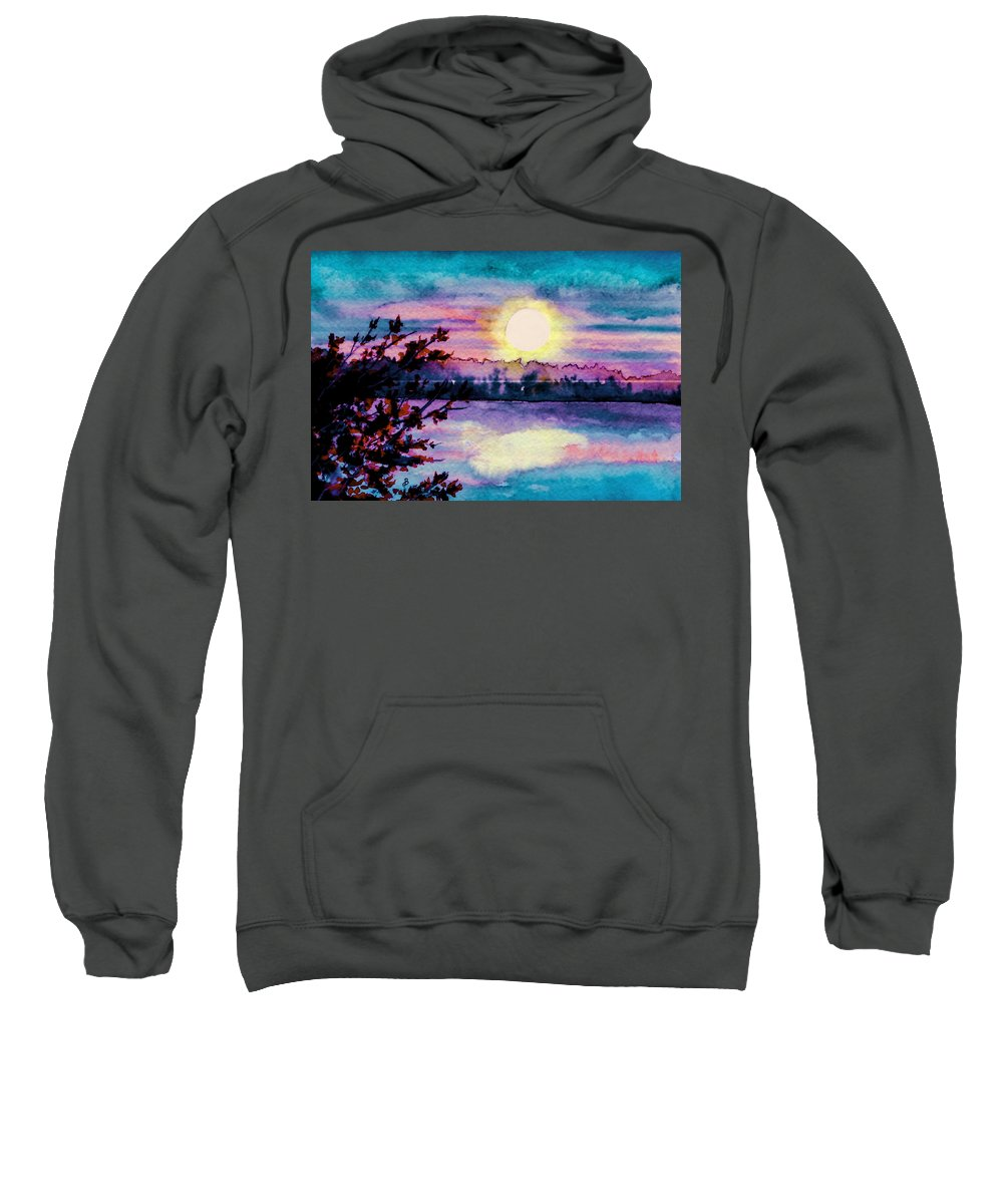 Watercolor Sweatshirt featuring the painting Maine October Sunset by Brenda Owen