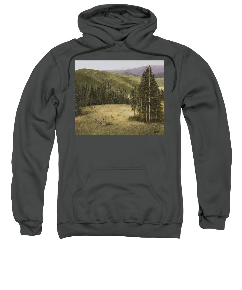 Deer Paintings Sweatshirt featuring the painting Majesty In The Rockies by Mary Ann King