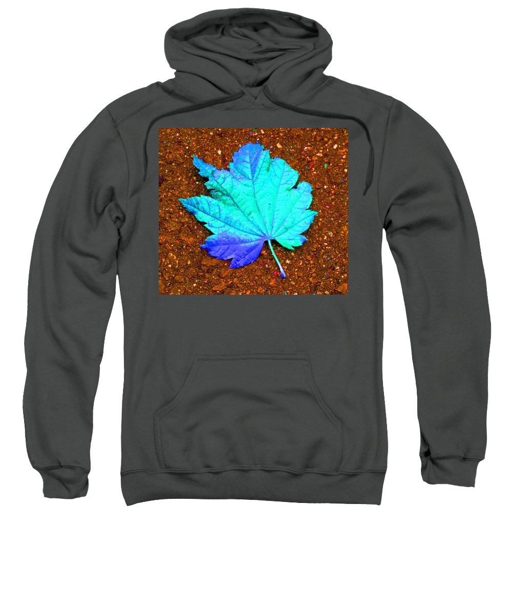 Macro Maple Leaf Print Sweatshirt featuring the photograph Maple Leaf On Pavement by Marie Jamieson