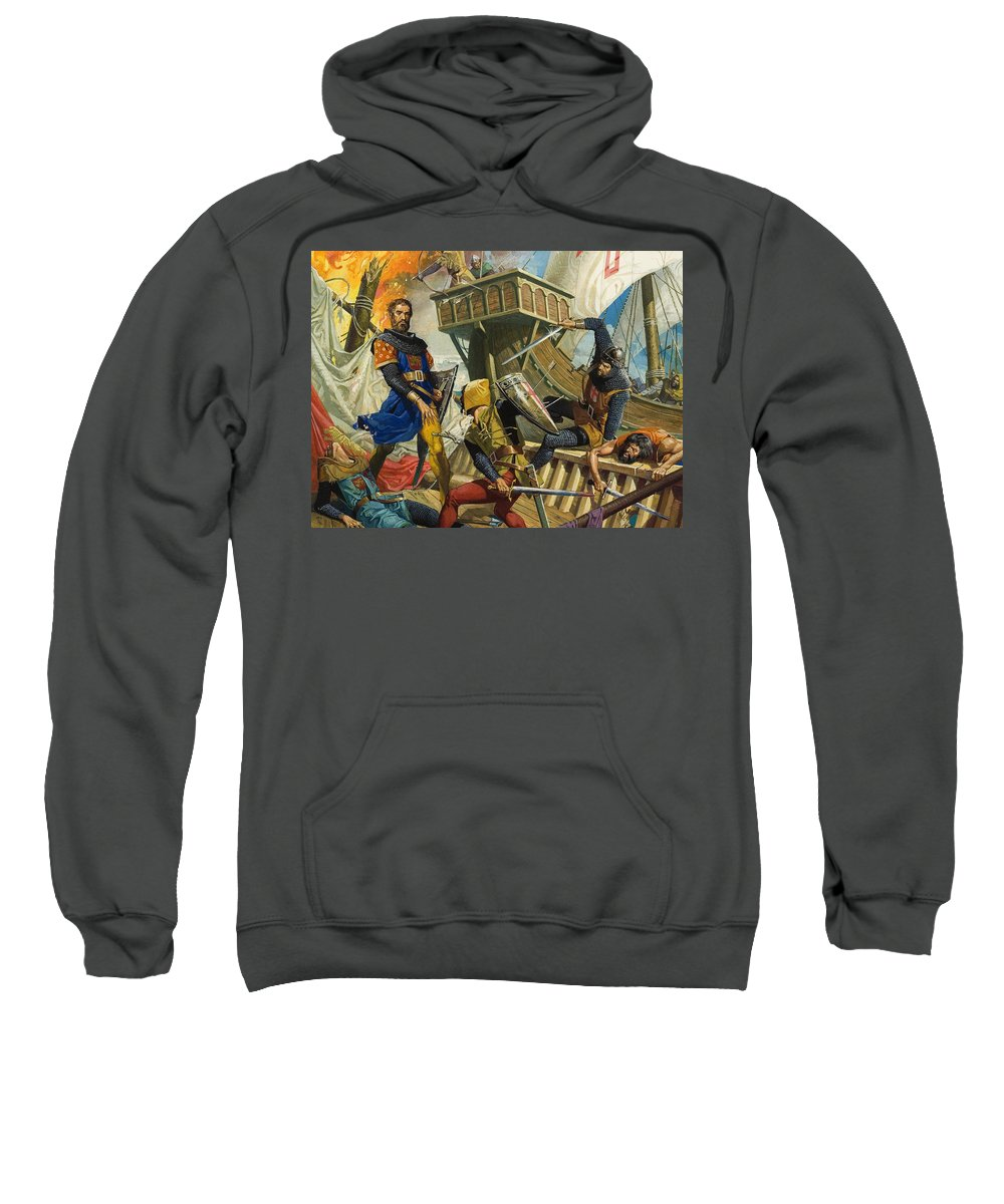 Genoa; Capture; Ship; Fight; Fire; Armour; Naval; Battle; Explorer; Trader; Travels; Il Milione; Fight; Mast; Shield; Sword; Soldier; Attack; Children's Illustration; Male; Portrait Sweatshirt featuring the painting Marco Polo by Severino Baraldi