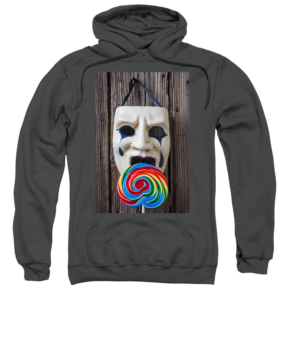 Mask Masks Sweatshirt featuring the photograph Mask Licking Sucker by Garry Gay