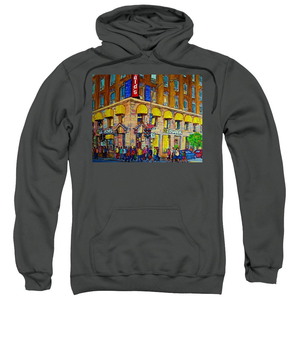 Mcdonald Restaurant Montreal Sweatshirt featuring the painting Mcdonald by Carole Spandau