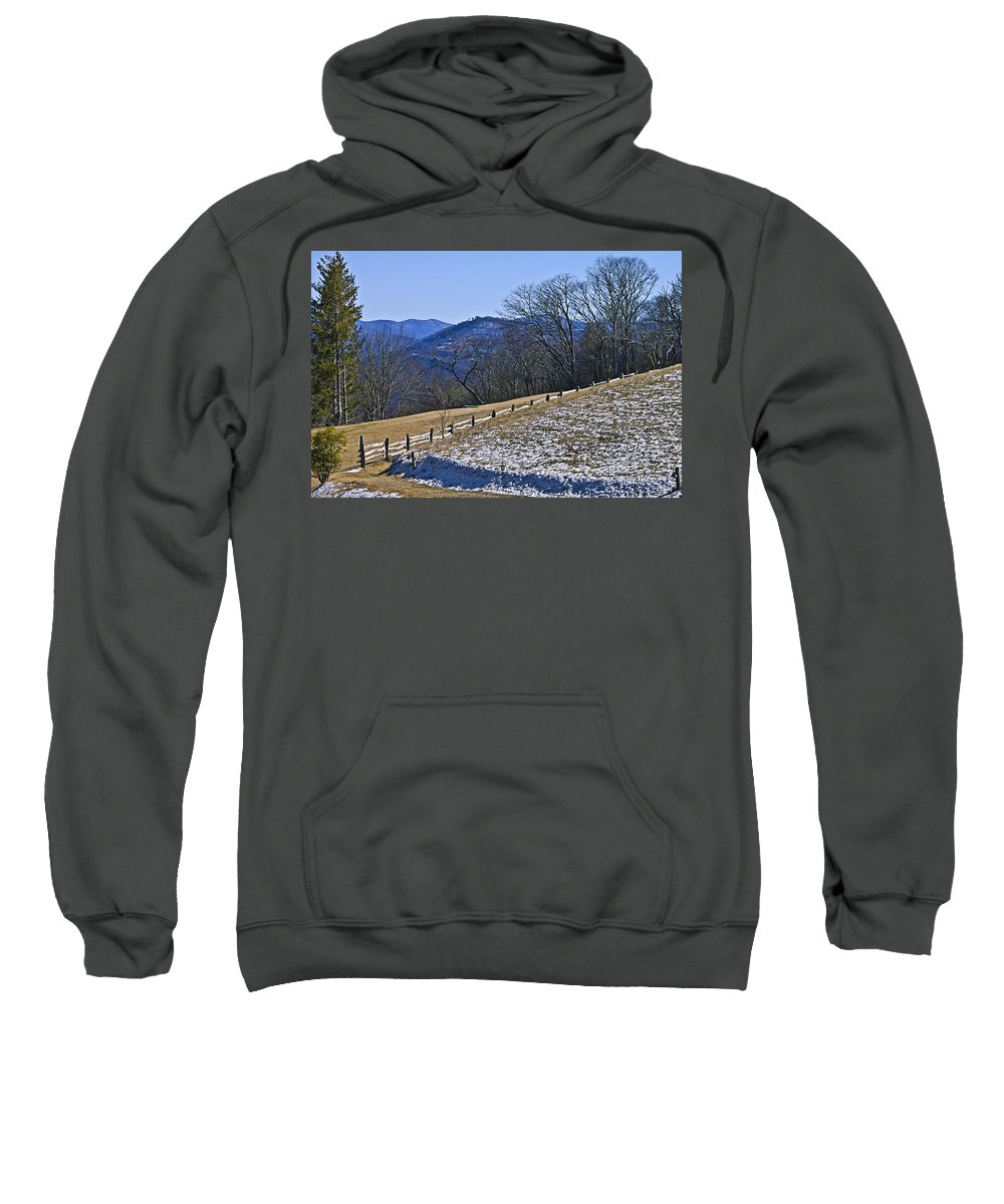 A Pasture And Mountain View In The Cataloochee Area Of The Great Smoky Mountains. Sweatshirt featuring the photograph Melting Snow by Susan Leggett