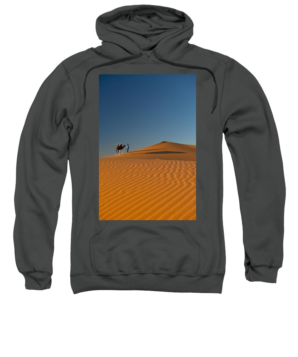 Young Man Sweatshirt featuring the photograph Merzouga, Morocco by Axiom Photographic