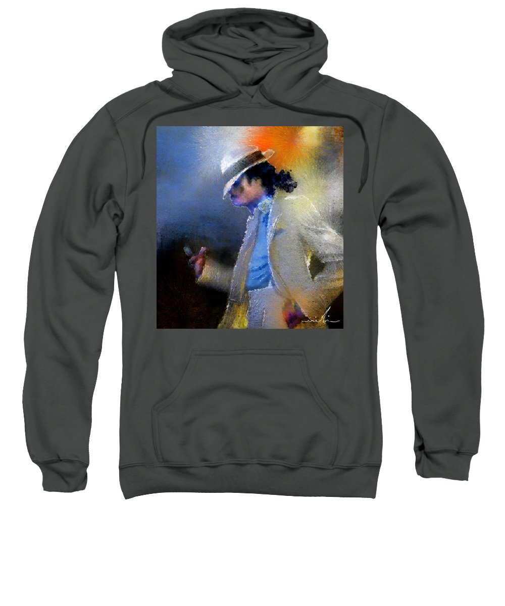 Music Sweatshirt featuring the painting Michael Jackson 10 by Miki De Goodaboom