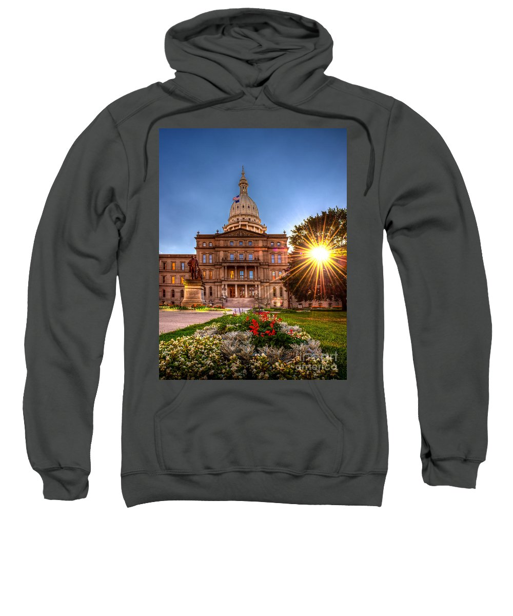 Capitol Sweatshirt featuring the photograph Michigan Capitol - Hdr - 2 by Larry Carr