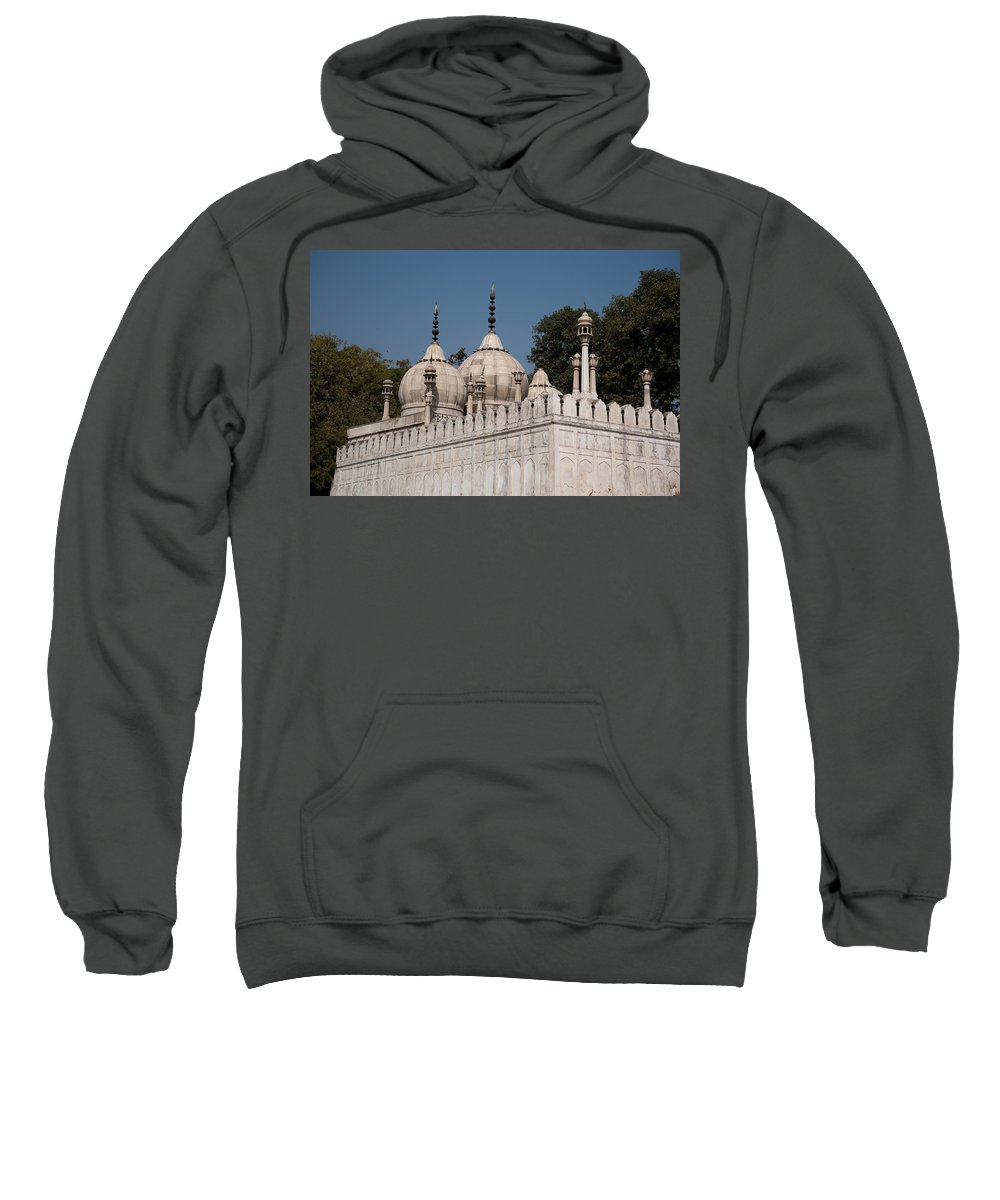Monument Sweatshirt featuring the photograph Minarets And Structure Of Pearl Mosque Inside Red Fort by Ashish Agarwal