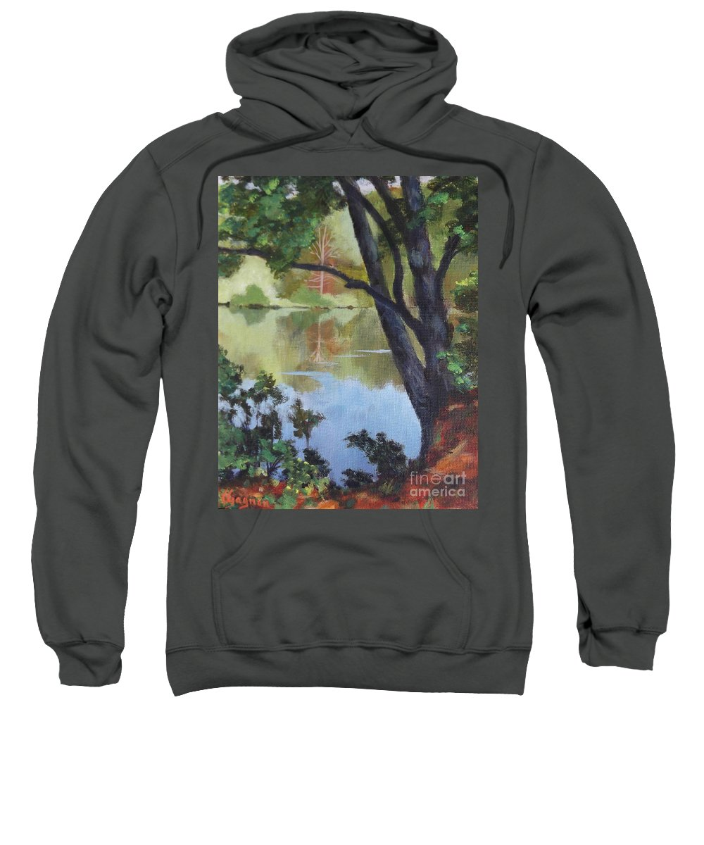 Blue Sweatshirt featuring the painting Mirror Reflection by Claire Gagnon