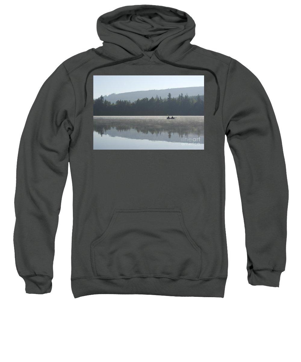 Washington Sweatshirt featuring the photograph Misty Morning Fishing by Jim And Emily Bush