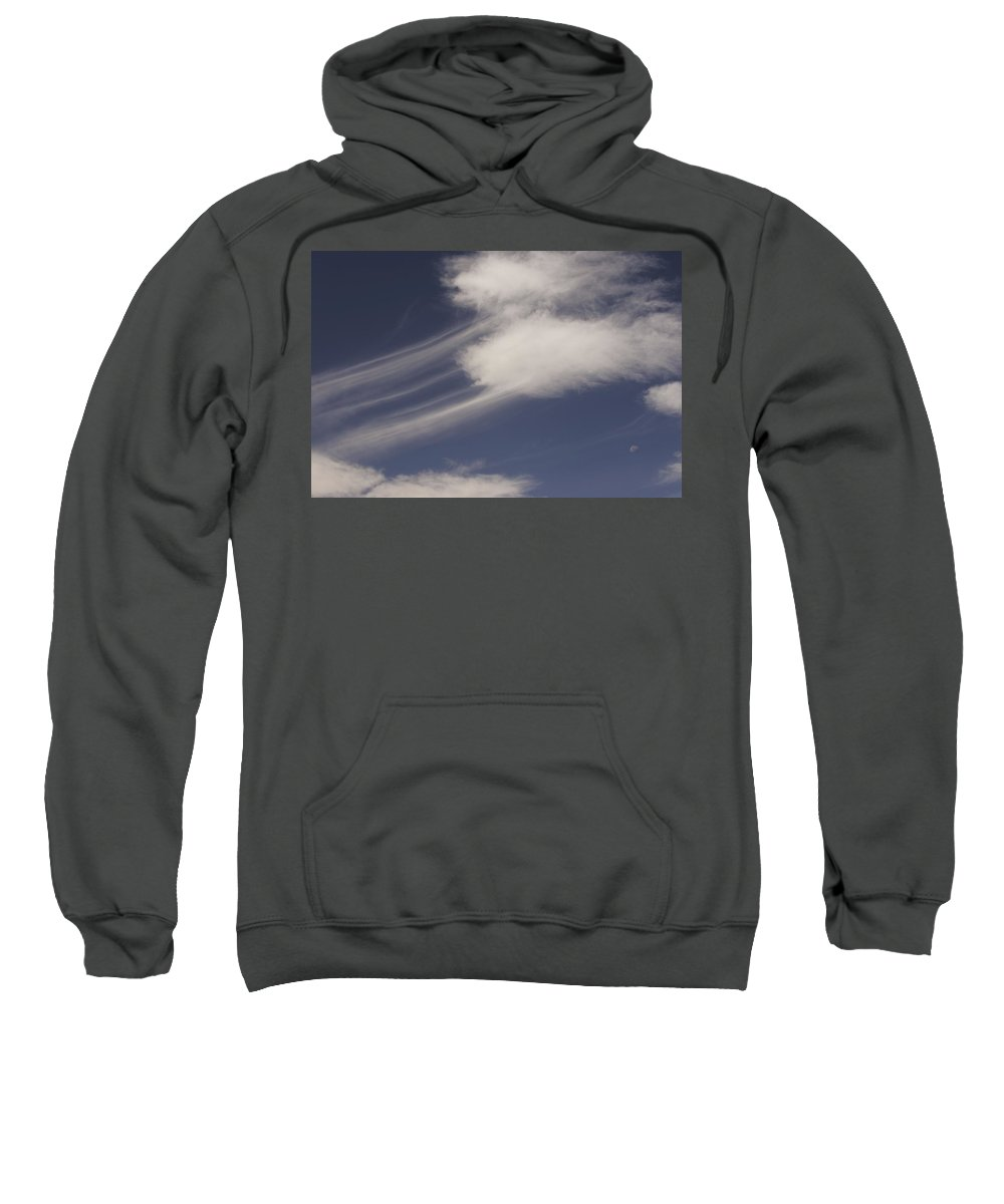 Clouds Sweatshirt featuring the photograph Moon In The Clouds by One Rude Dawg Orcutt