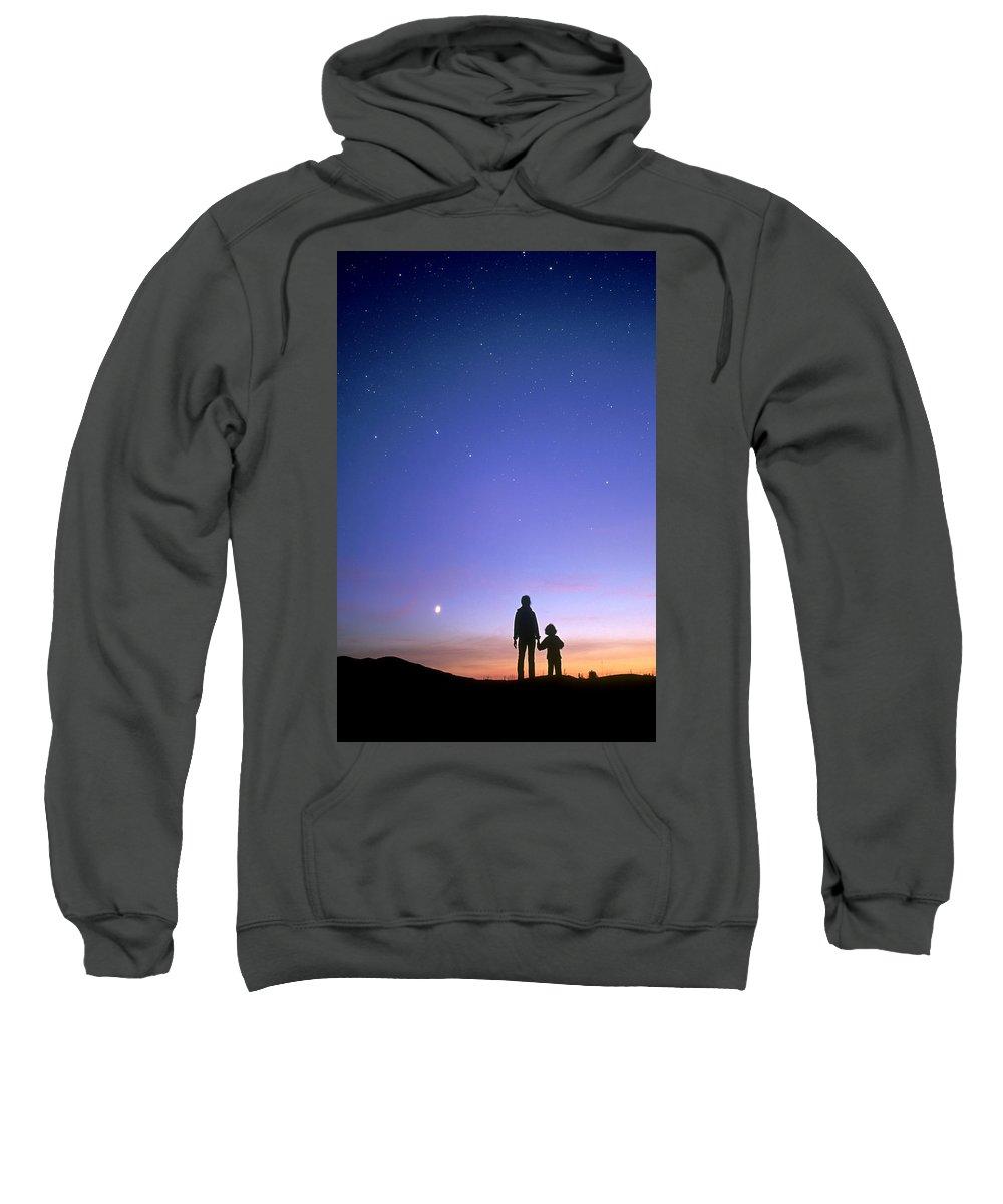 B.c. Sweatshirt featuring the photograph Mother And Child Stargazing, British by David Nunuk