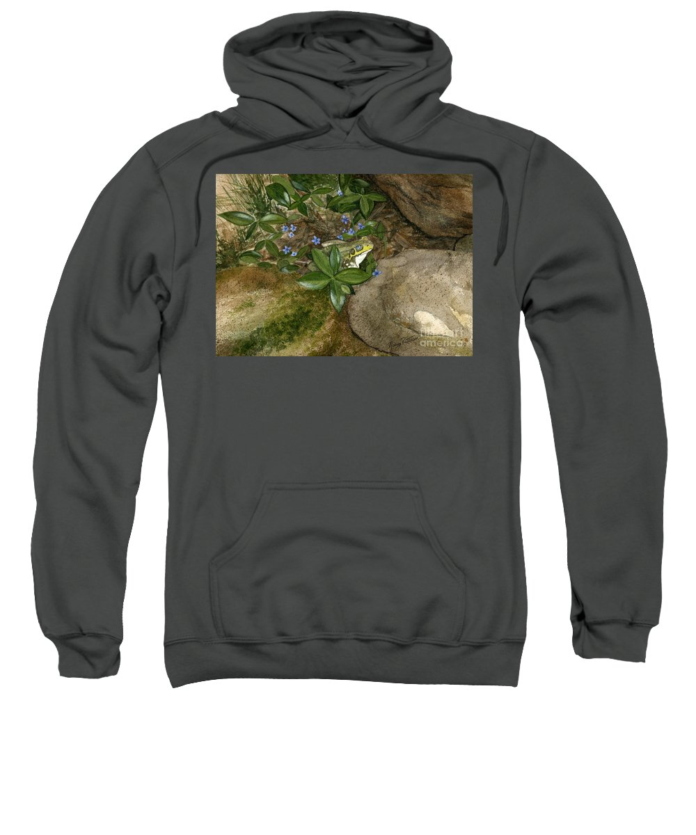 Frog Sweatshirt featuring the painting Mr. Frog by Nancy Patterson