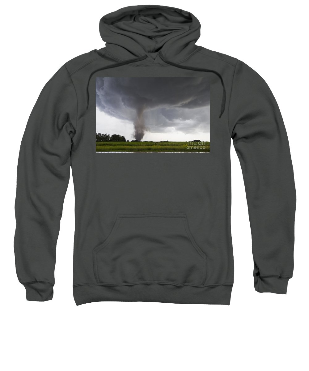 Severe Sweatshirt featuring the photograph Nebraska Tornado by Mike Hollingshead and Photo Researchers