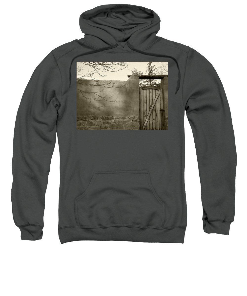 Doorway Sweatshirt featuring the photograph New Mexico Series - Doorway II Black And White by Kathleen Grace