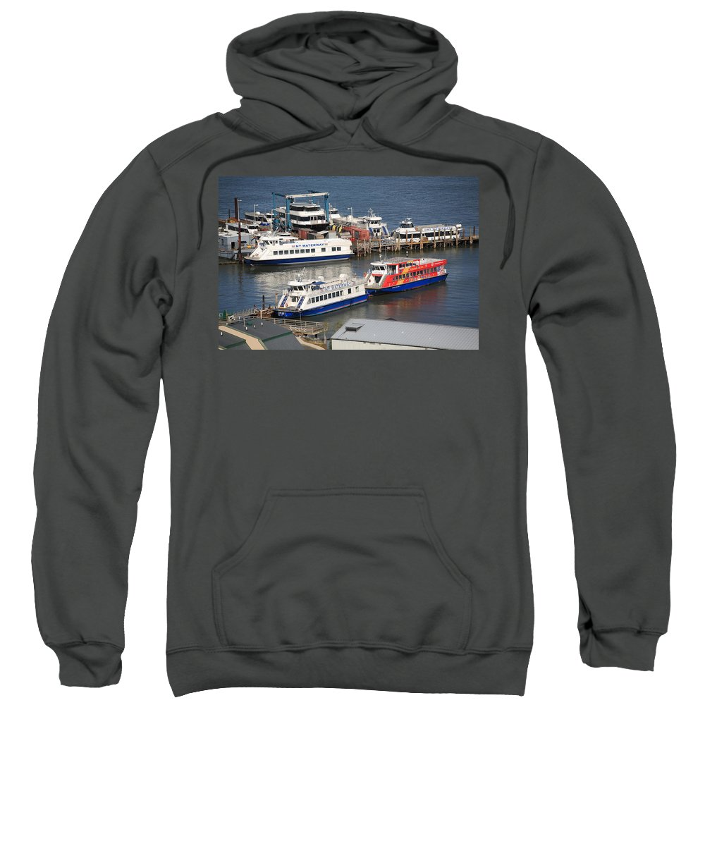 America Sweatshirt featuring the photograph New York City Sightseeing Boats by Frank Romeo