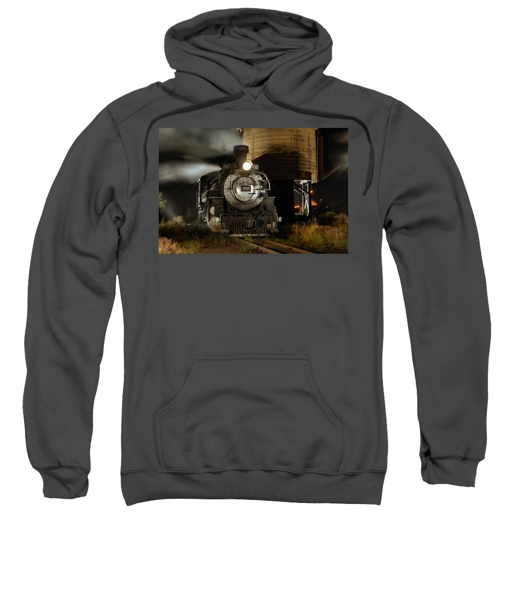 Steam Train Photographs Sweatshirt featuring the photograph Night At The Water Tower by Ken Smith