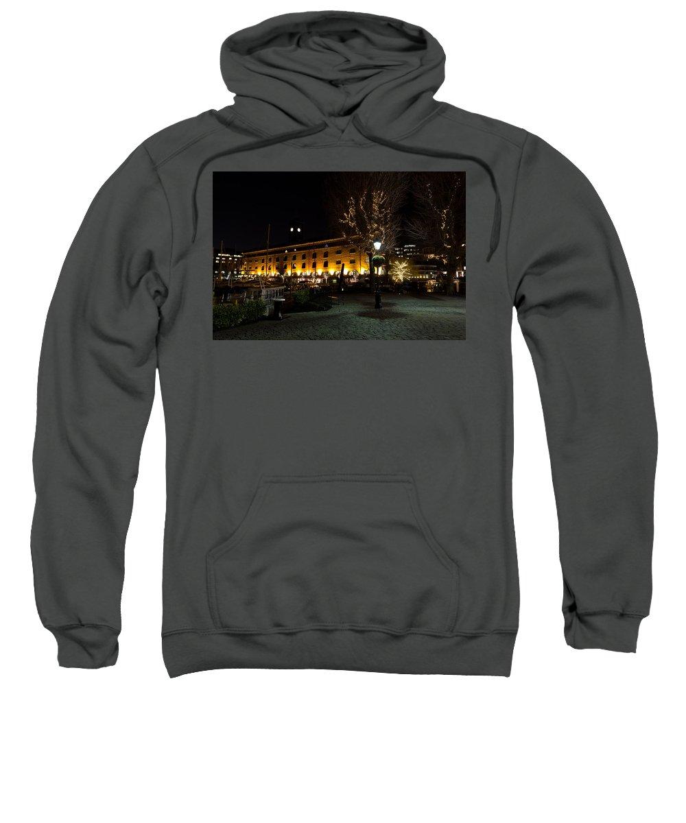Pub Sweatshirt featuring the photograph Night View Of St Katherines Dock London by David Pyatt