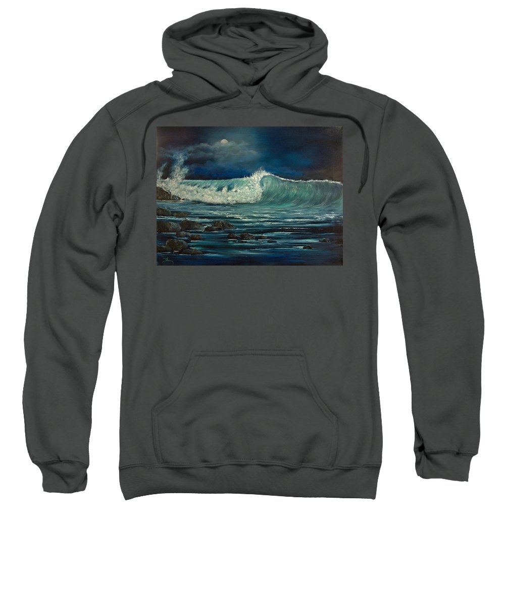 Wave Sweatshirt featuring the painting Night Wave by Dee Carpenter