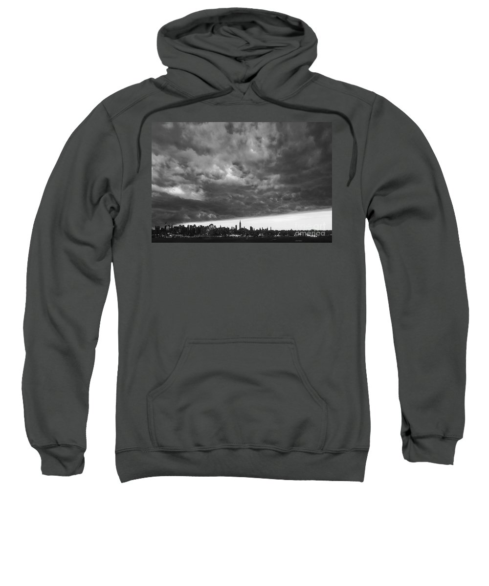 Ny Skyline Sweatshirt featuring the photograph Ny Skyline Approaching Storm by Regina Geoghan