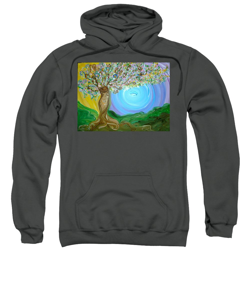 Whimsical Tree Sweatshirt featuring the painting Off Spring by Sara Credito