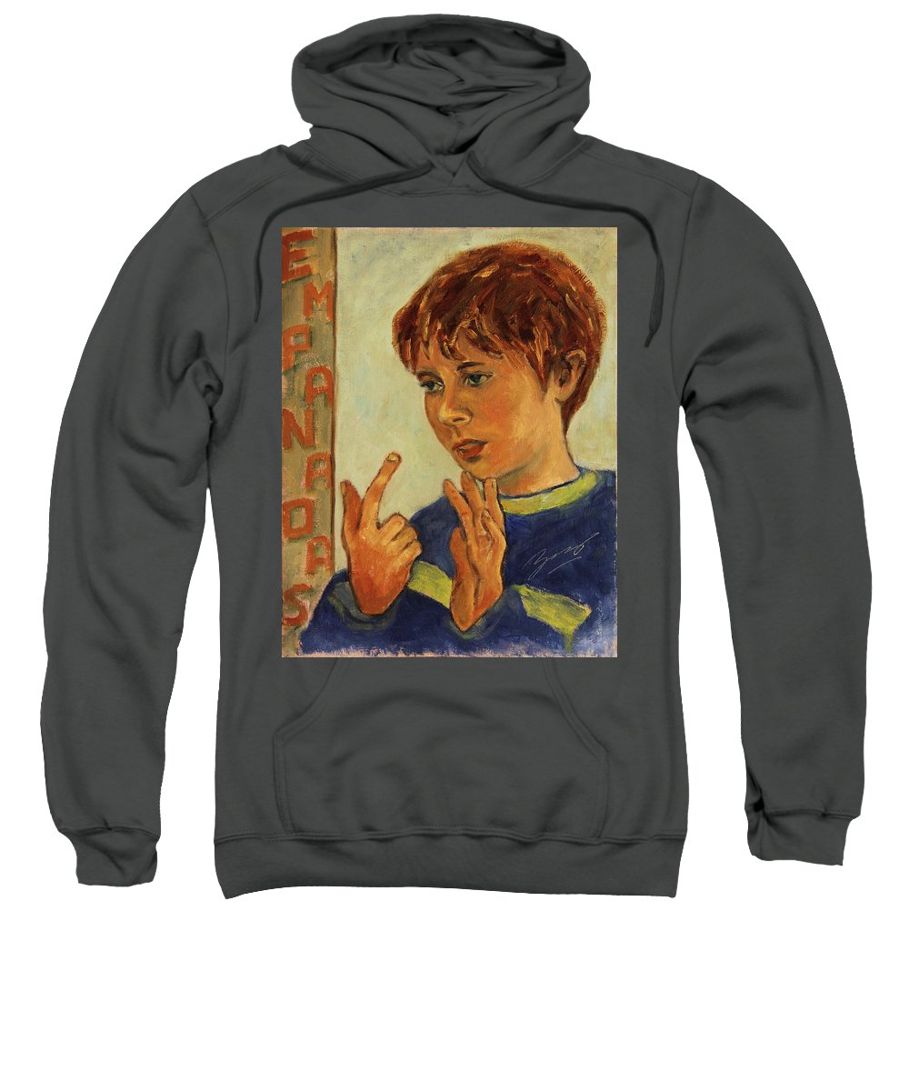 Boy Sweatshirt featuring the painting Oilver Twist by Xueling Zou