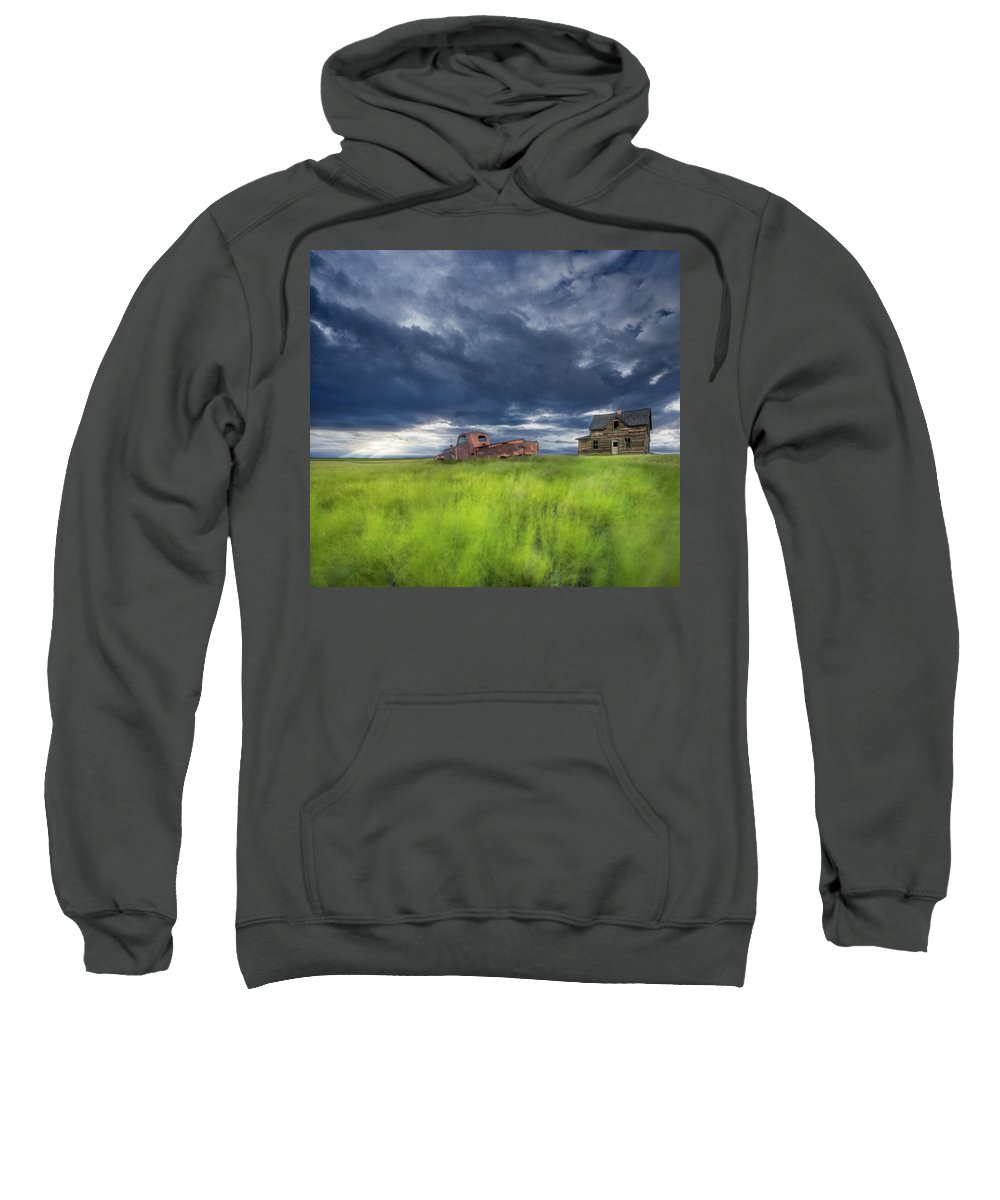 Light Sweatshirt featuring the photograph Old Abandonded Truck Near Empress by Darwin Wiggett