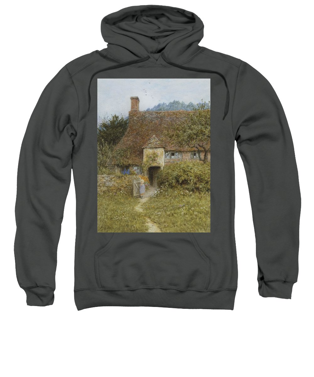 Rural; Exterior; Path; Victorian; Garden; Child; Gate; Entrance; Doorway Sweatshirt featuring the painting Old Cottage Witley by Helen Allingham