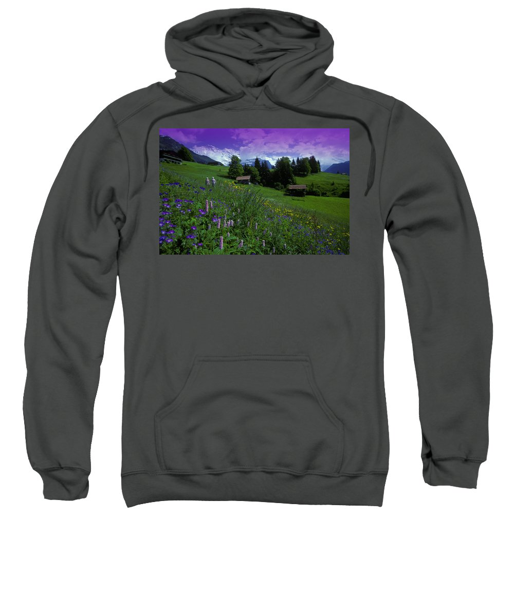 Buildings Sweatshirt featuring the photograph Old Couple By Mountainside Cottages by Don Hammond